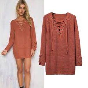 Longline Lace Up Corset Knit Tunic Sweater Large